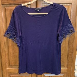 Navy Tshirt with Lace Edges Sleeves- Size L